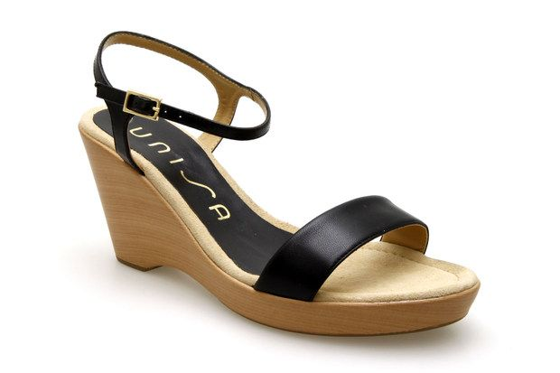 Nu-pieds compensés UNISA RITA Noir - Chaussures femme