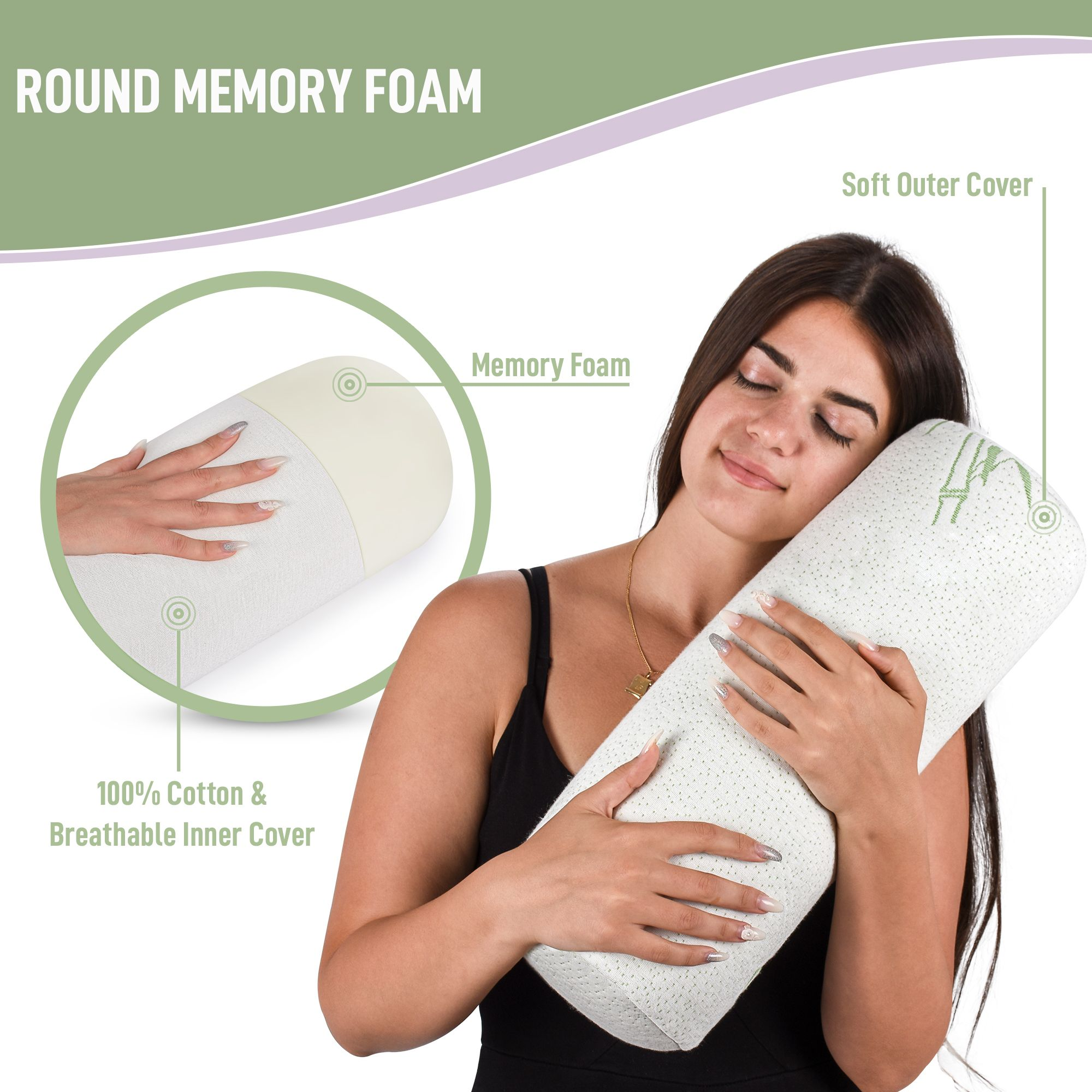 Cervical Neck Roll Bolster Support Pillow For Sleeping Memory Foam And Bamboo Cover Memory Foam Support Pillows Neck Roll Pillow