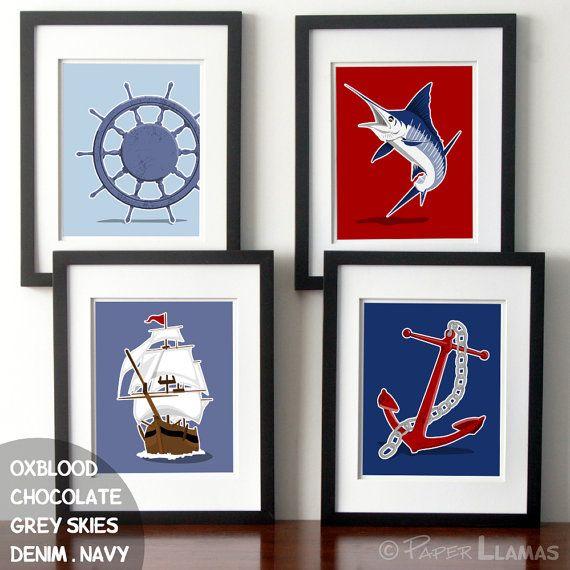Nautical Art Decor Ocean Art Nautical Nursery Anchor Ship Marlin Captains Wheel Set Of 4 Childrens Nautical Art Decor Nautical Art Children S Art Prints