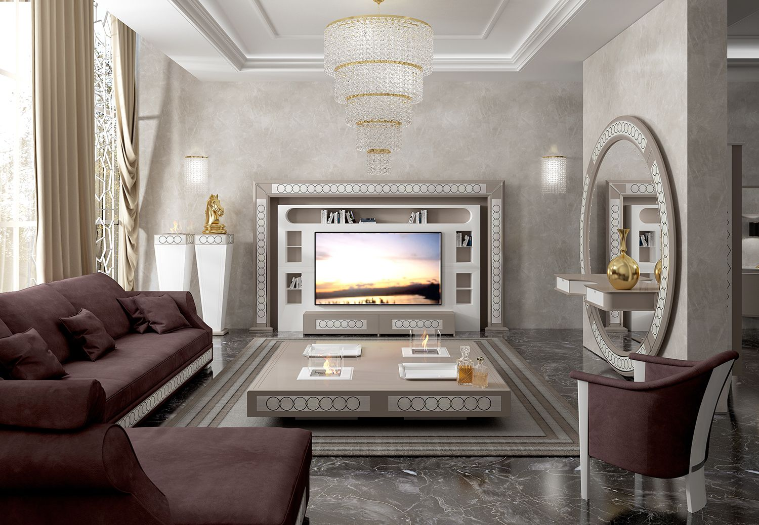 Luxury Livingroom With Big Tv Wall Unit For 75 Inches Tv Coffee Table With Brazier And Round Entrance Mirror A Living Room Tv Big Tv Wall Family Living Rooms