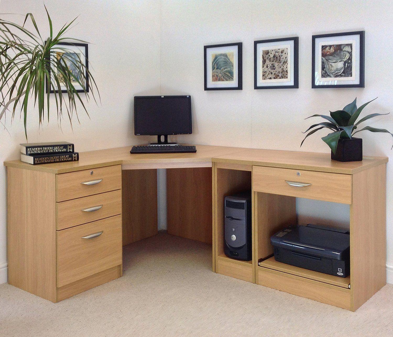 Desk Office Furniture Computer Desks Oak Corner Walshaw Wayfair Shape Tables Table Match Business Retailer S En 2020 Coin Bureau Mobilier De Salon Bureau En Forme De L
