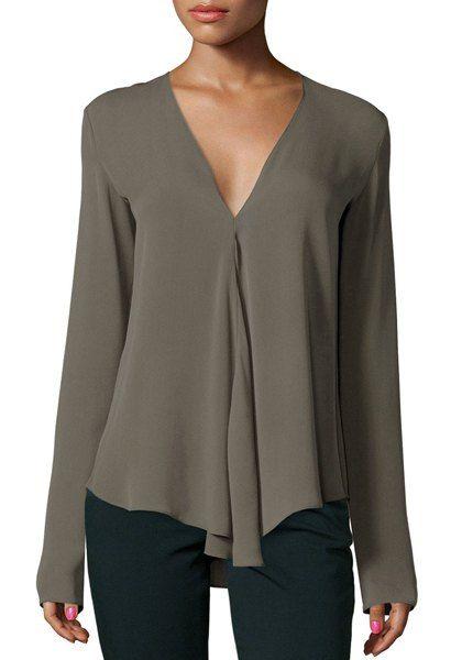 Chic cuello en V manga larga color puro de la blusa de las mujeres asimétricas