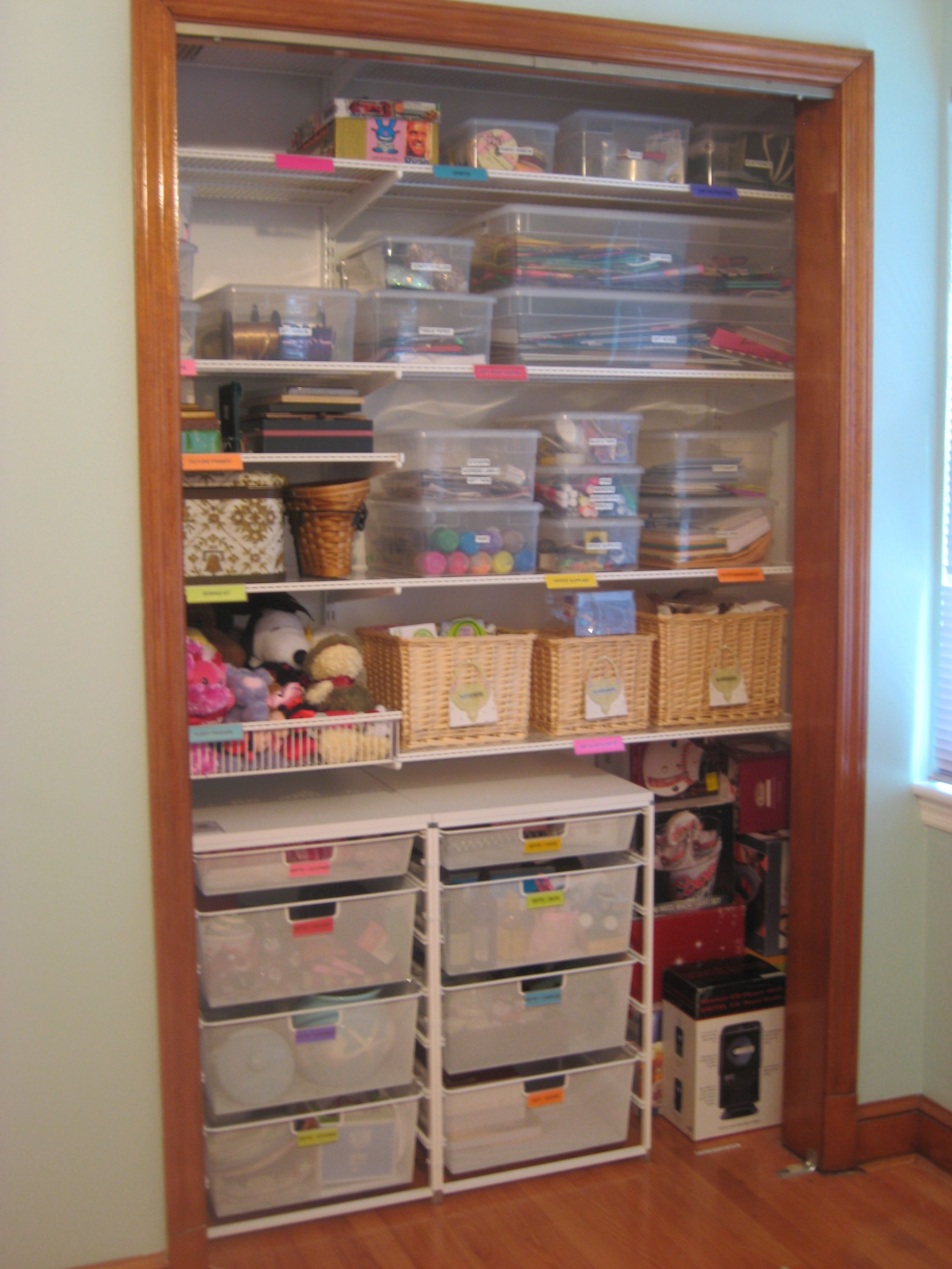 craft closet storage ideas craft room organization gift closet with gifts 3760