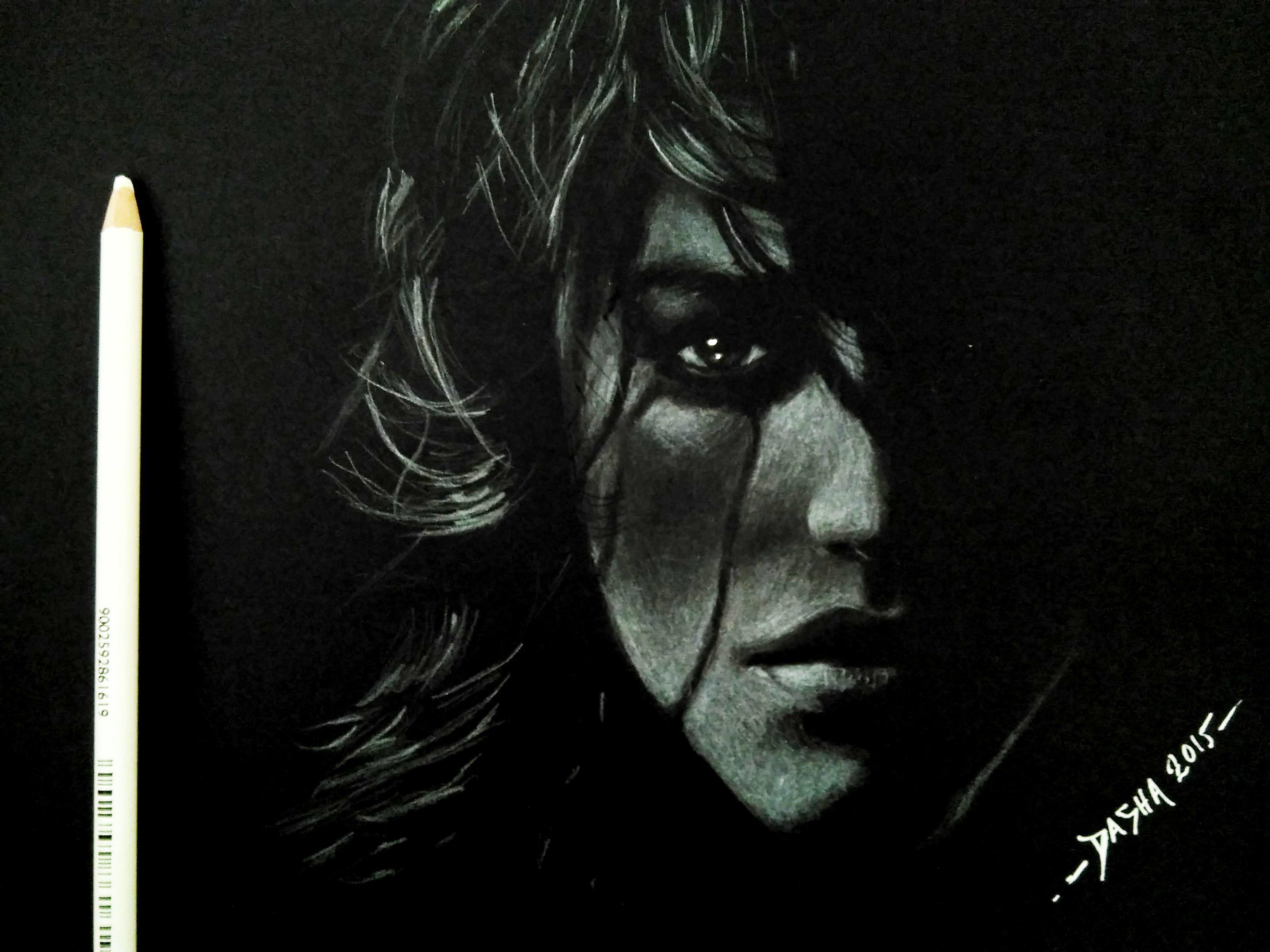 White pencil charcoal on black paper portrait girl face