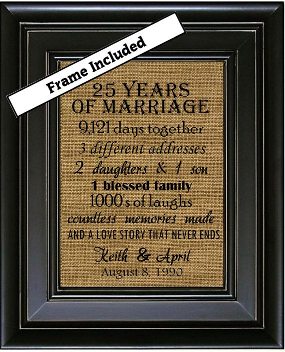 25th Wedding Anniversary Gift Ideas For Him: FRAMED 25th Anniversary Gift/25th Wedding Anniversary