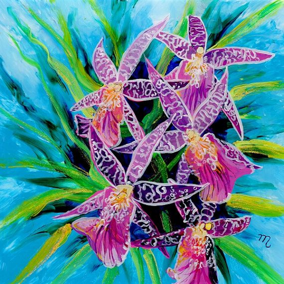 Dancing Orchids Original Reverse Acrylic Painting by kauaiartist