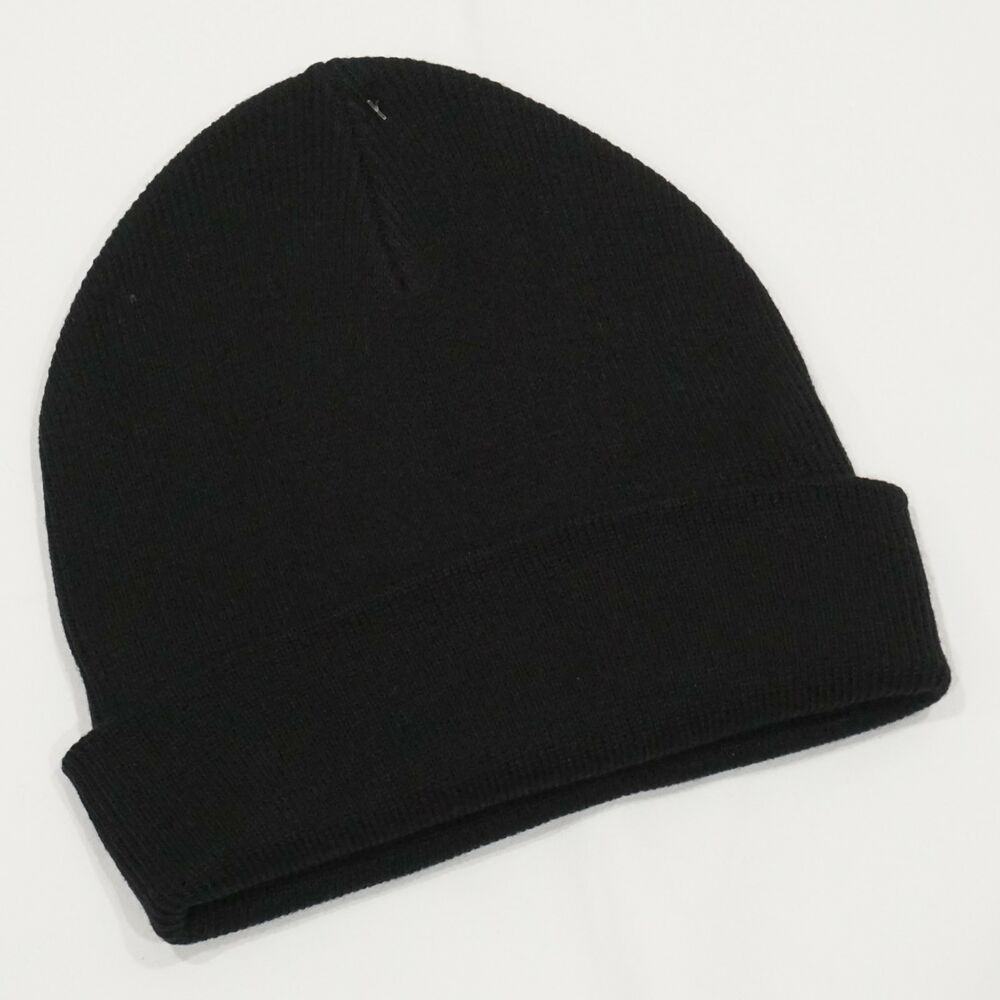 c8912ad27e9 Old Navy Black Cuff Roll Up Knit Beanie Hat Adults One Size NWT  OldNavy   Beanie