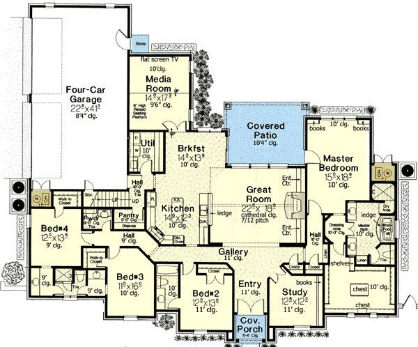 Plan 48375fm Luxurious Master Suite With Images Bungalow Floor Plans French Country House Plans House Plans One Story