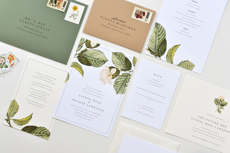 Magnolia Wedding Invitation Magnolia Leaves Wedding Etsy Magnolia Wedding Invitations Magnolia Wedding Magnolia Leaves Wedding