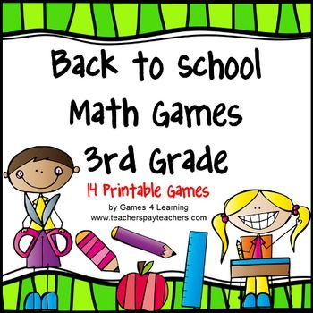 Back to School Math Games THIRD Grade - This collection of back to school math games contains 14 printable games that review a variety of second grade skills. $