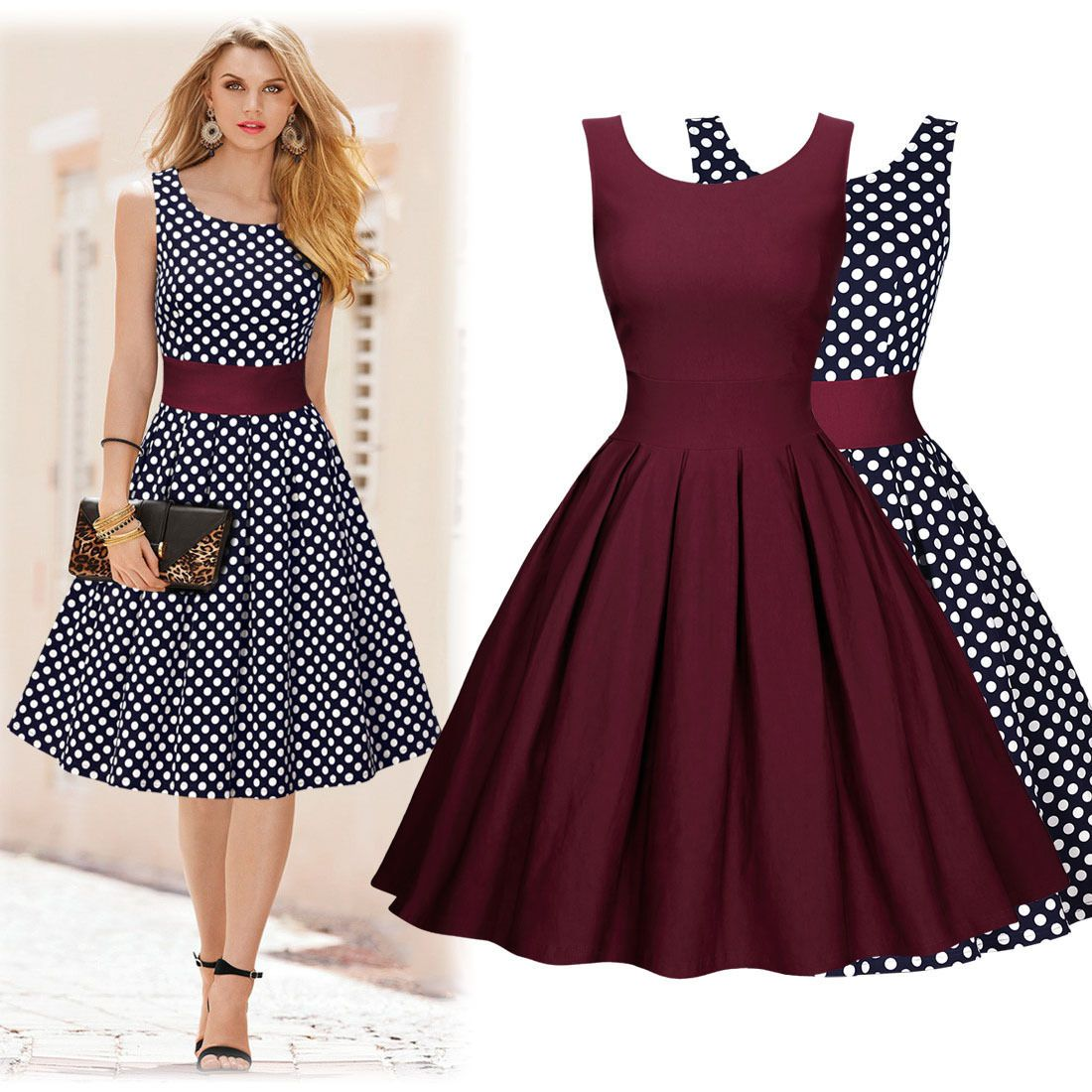 Awesome womens casual elegant polka dot cocktail party short prom