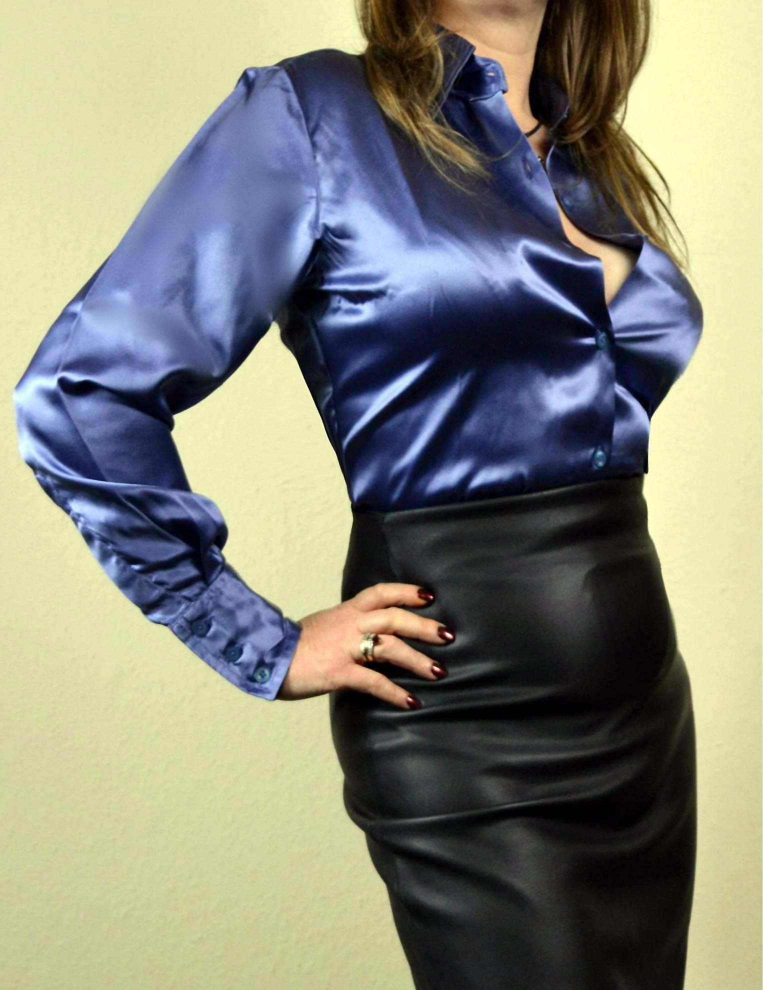 9793232e2f Blue satin blouse and black leather skirt | great looks in 2019 ...
