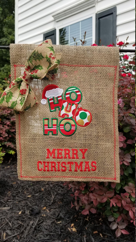 Christmas Burlap Garden Flag - Ho Ho Ho, Merry Christmas by ...