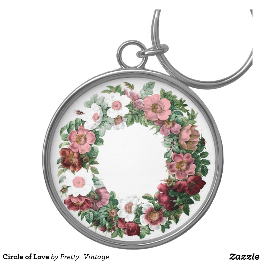 Circle of Love Silver-Colored Round Keychain. Pretty! :)