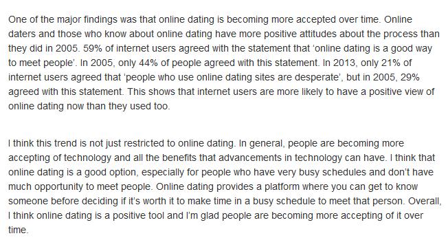 Online dating summary
