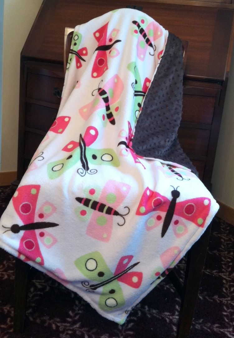 Minky Baby Blanket Butterfly Lime and Pink Micro-fleece Brown Chenille Dot Back Crib Size Girl