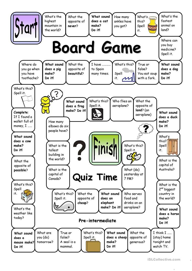 Board Game Quiz Time Pre Intermediate With Images