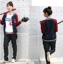 Mobile Site Korean Version Fashion Baseball Jacket Varsity Jacket Girl Sport Coat Girl Leisure Outwear Grey Blue Re Jackets Varsity Jacket Women Varsity Jacket