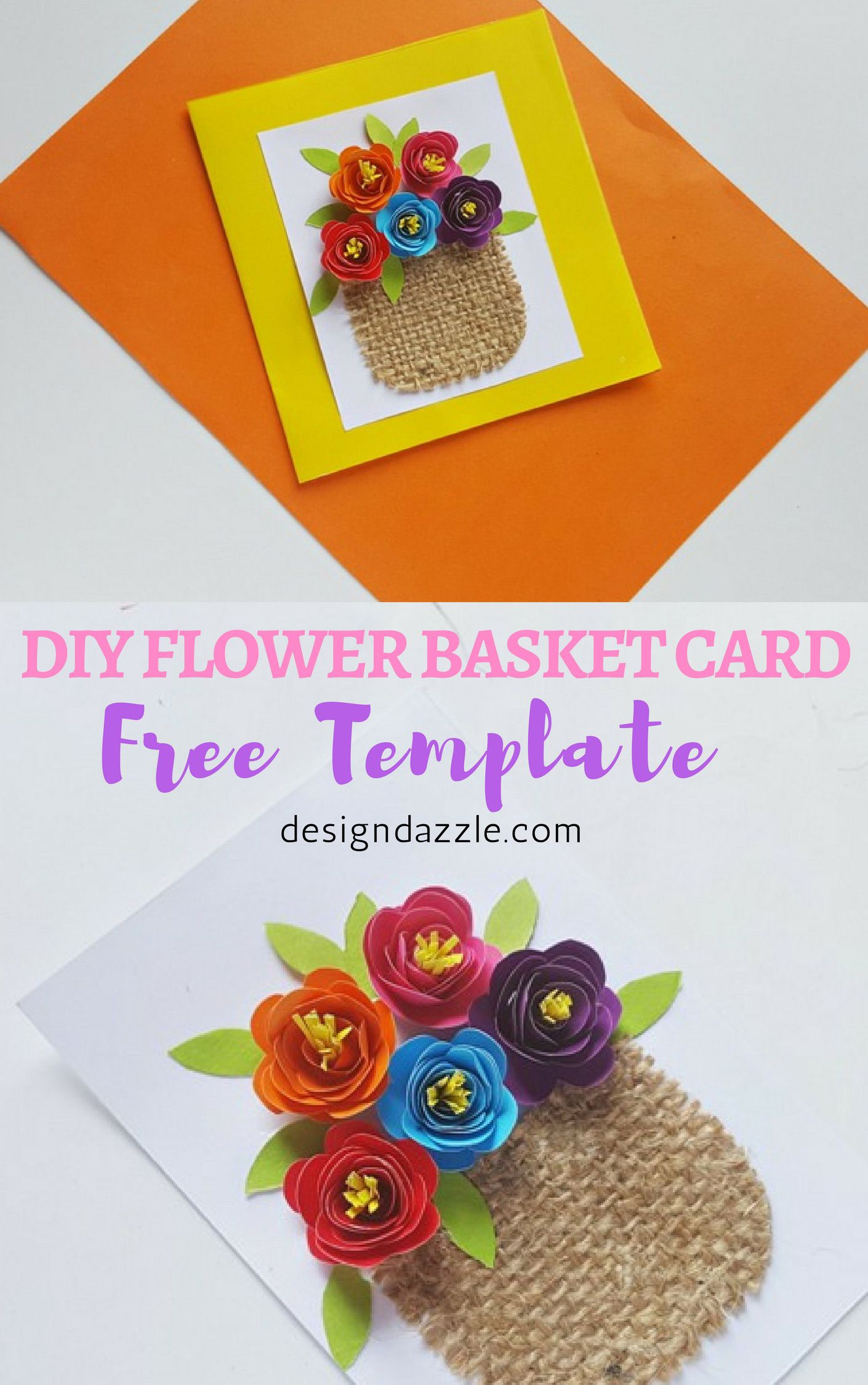 This Flower Basket Card Is So Beautiful And Easy To Make Its A Perfect