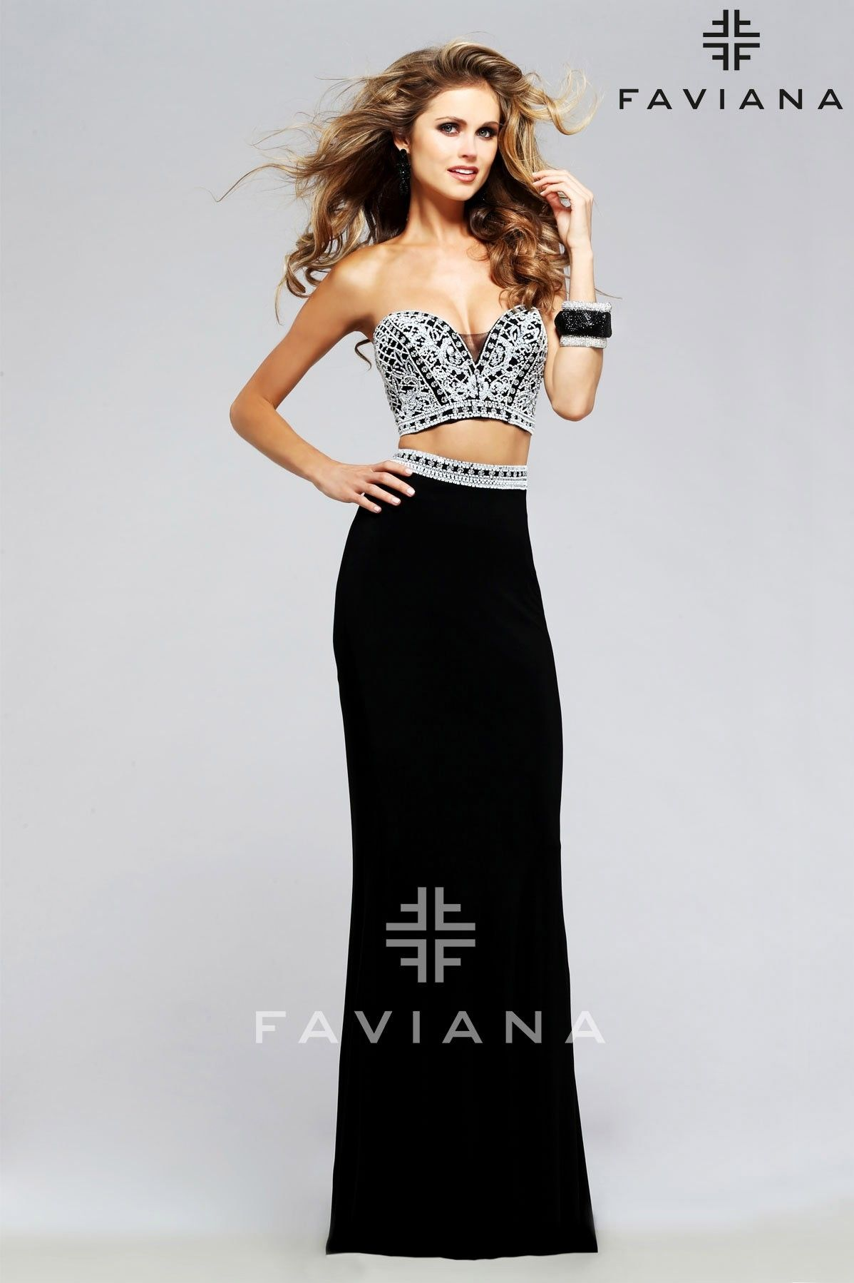 Faviana jersey twopiece with beaded bodice twopiece dresses
