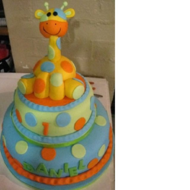 Awesome giraffe 1st birthday cake Im thinking a lot more pink