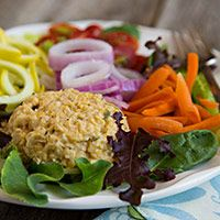 This 3-minute Chickpea Salad is perfect for adding protein to salads, wraps, and sandwiches.