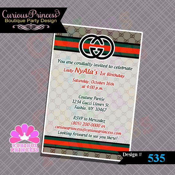 Gucci Couture INSPIRED Printable 4x6 Invitation By