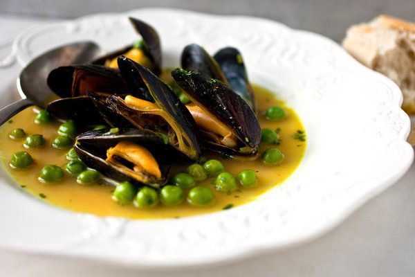 Mmmmm moules . . .   Curry-Laced Moules à la Marinière With Fresh Peas from NYT Recipes for Health (Martha Rose Shulman).. Maybe for AK and Moms special dinner
