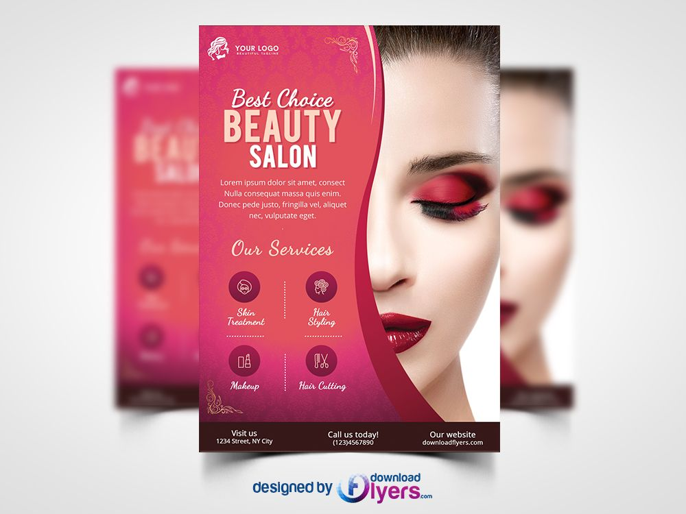 Beauty Salon Flyer Template Free PSD | 1 | Pinterest | Flyer ...