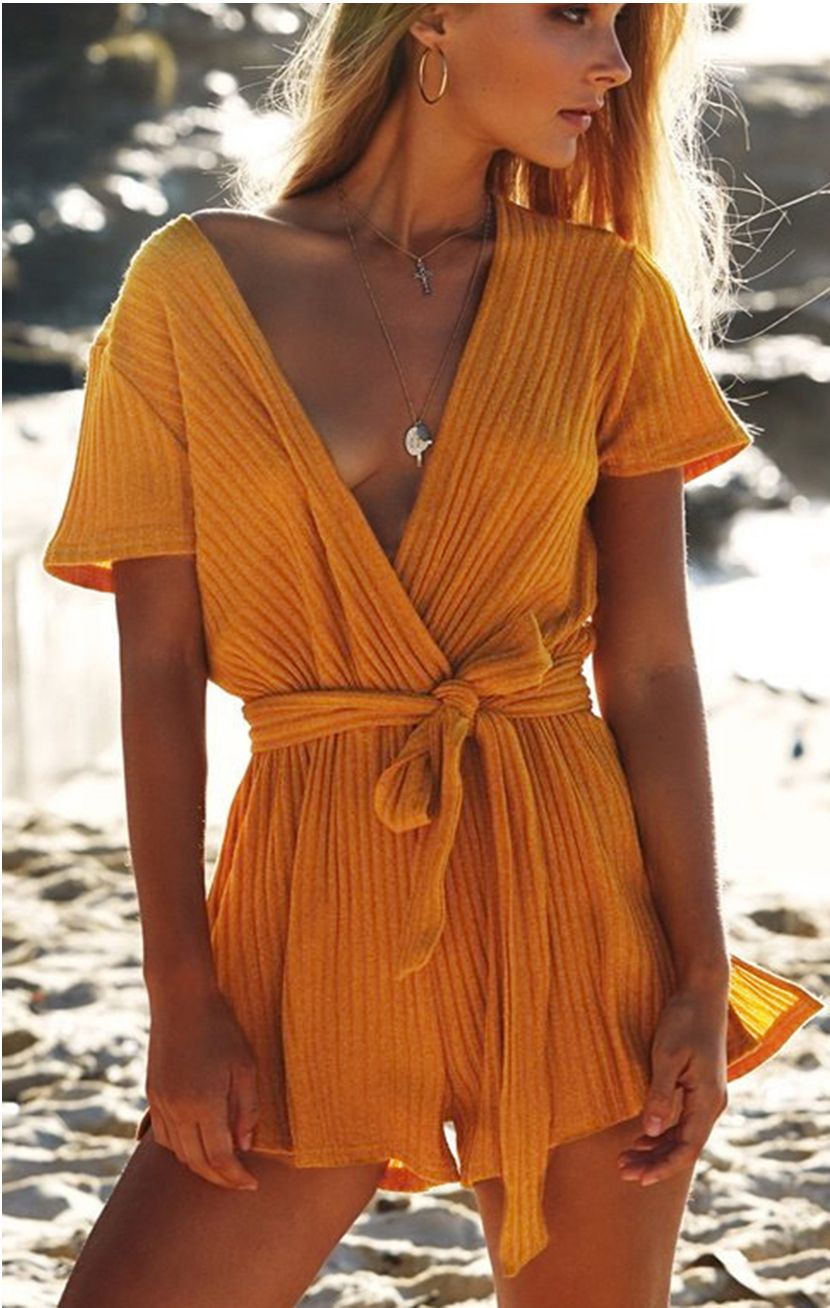 3913794fbfd9 Elevate your summer outfits with this adorable and flirty romper. Details   Material  Cotton Pattern Type  Solid Fit Type  Straight SIZE(IN) US  Shoulder Bust ...