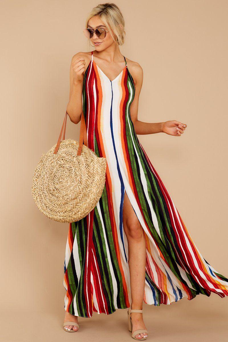 d208fdc366 Chic Orange Multi Stripe Maxi - Rainbow Print Maxi Dress - Dress - $68 – Red  Dress Boutique