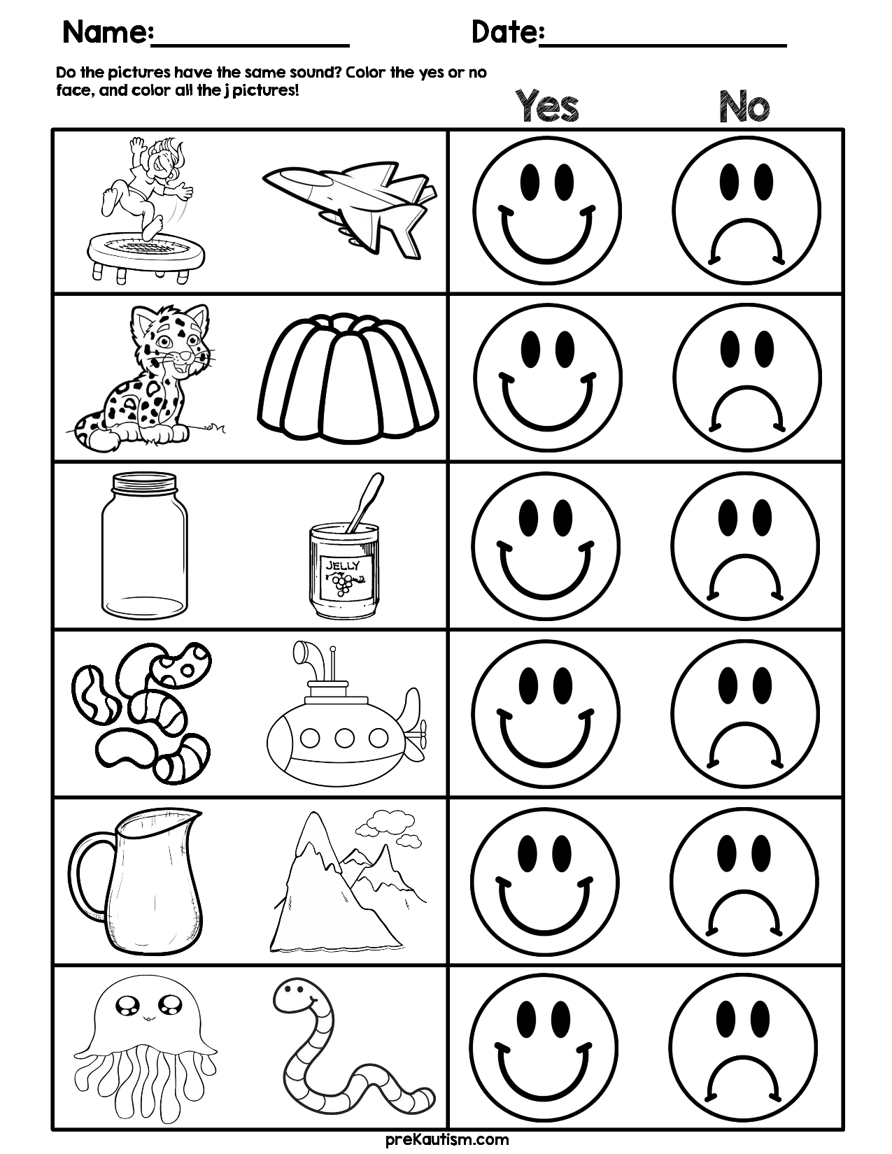 Consonant Sound Match Worksheets Initial sounds