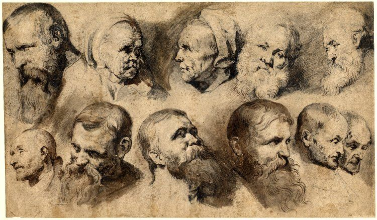 Sheet of eleven studies of heads; in two rows, including two of an old woman and a white bearded man in the upper row. c.1619 Pen and brown ink, with grey and brown wash, over black chalk