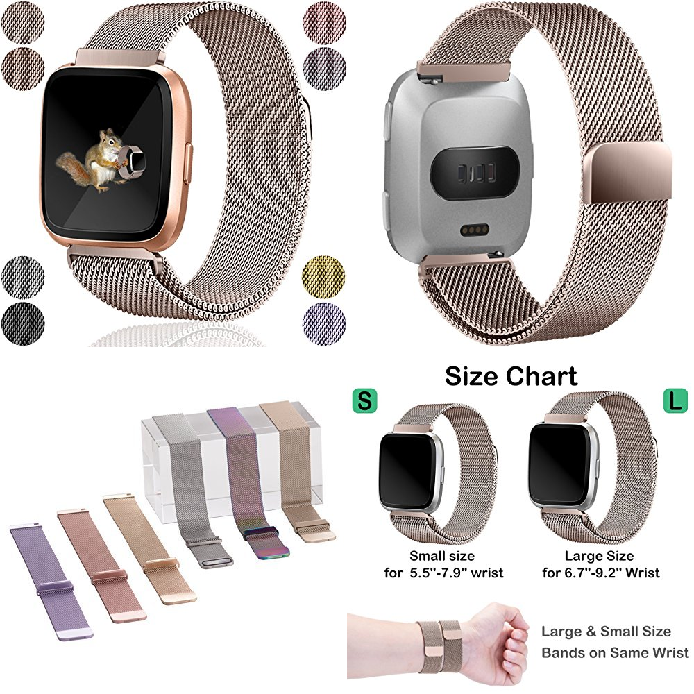 For Fitbit Versa Bands Replacement For Women Men Milanese Loop
