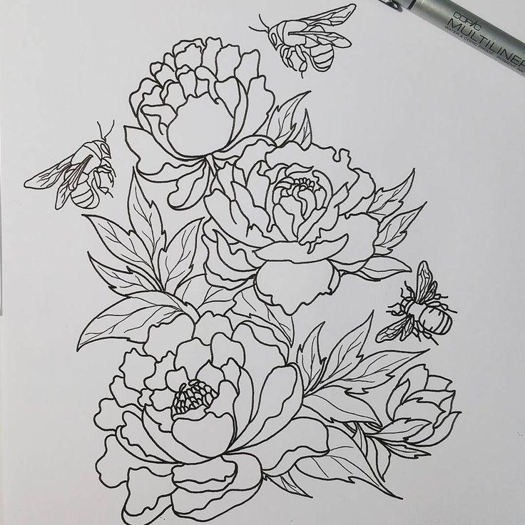 Line Art Flowers Husqvarna : Image result for floral line art forearm tattoo full