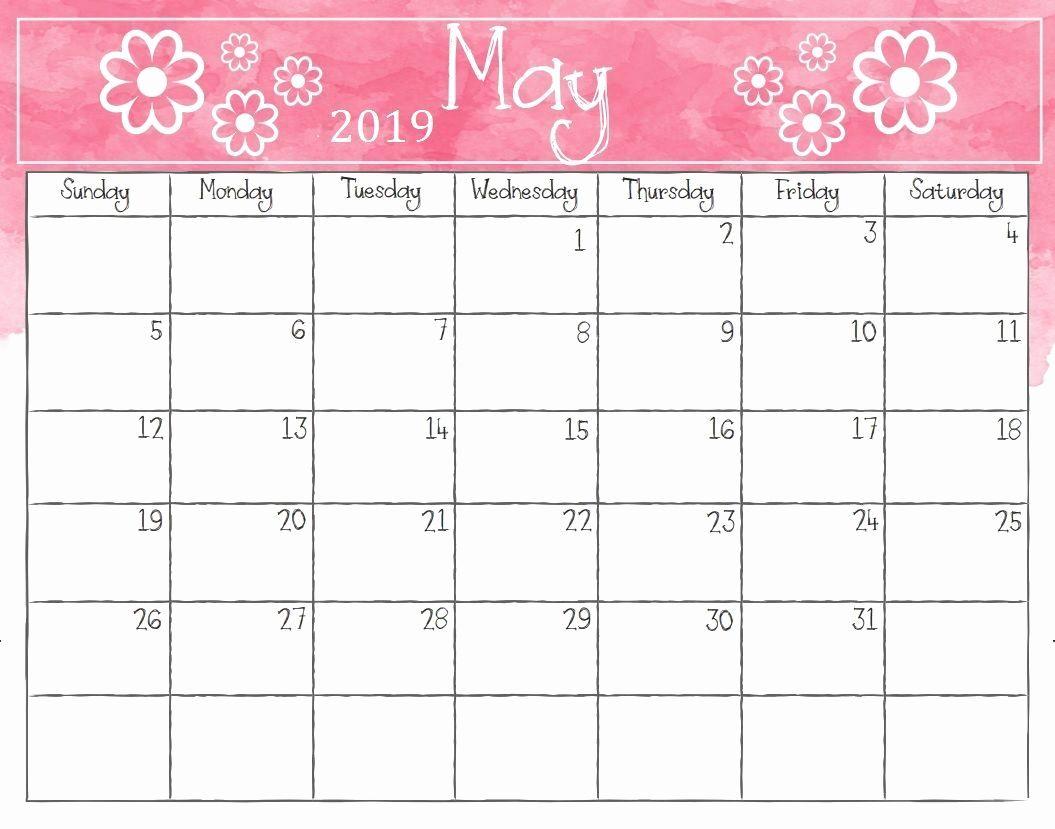 2019 Monthly Calendar Word Elegant May 2019 Weekly Calendar