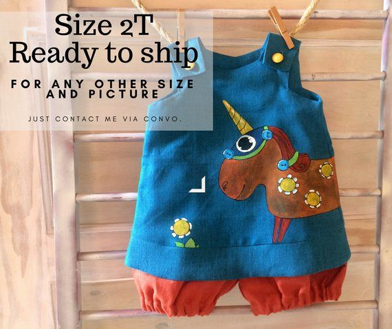 81f388240 Unicorn baby outfit romper. Linen dresses jumpsuit with hand painted  whimsical nursery art. In stock