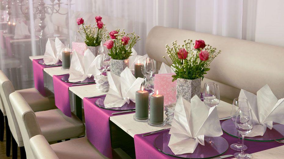 Purple table cloths