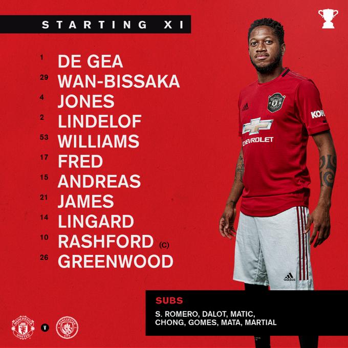Starting Line Up Man United Vs Man City Eflcup In 2020 Anthony Martial Soccer Match Ole Gunnar Solskjaer