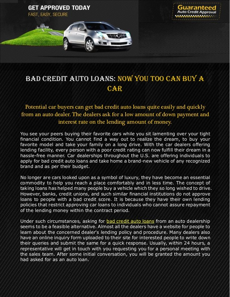 Bad Credit Auto Loans Now You Too can Buy a Car Car