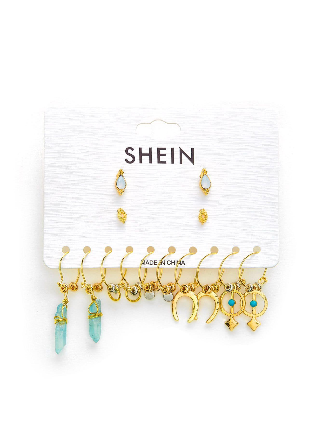 5e897c8460 Casual Wear, Earring Set, Portal, Shapes, Jewelry Design, Gemstones, Romwe