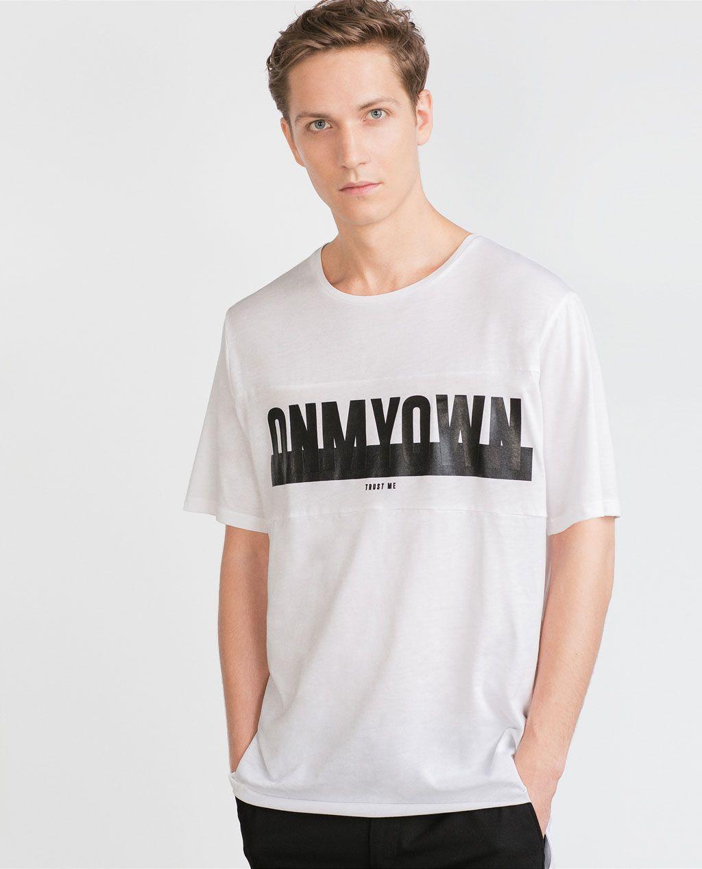 a89f841c PRINTED LETTERS T - SHIRT - T - shirts - MAN | ZARA United States ...