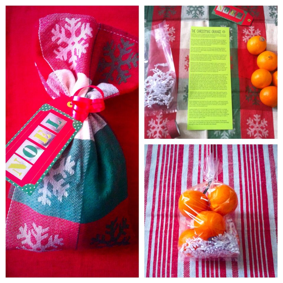 Christmas Orange Gift: Printout story, Oranges, Dish Rag, Small ...