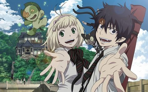 Blue Exorcist ~~ Giant Nee, Shiemi, and Rin.