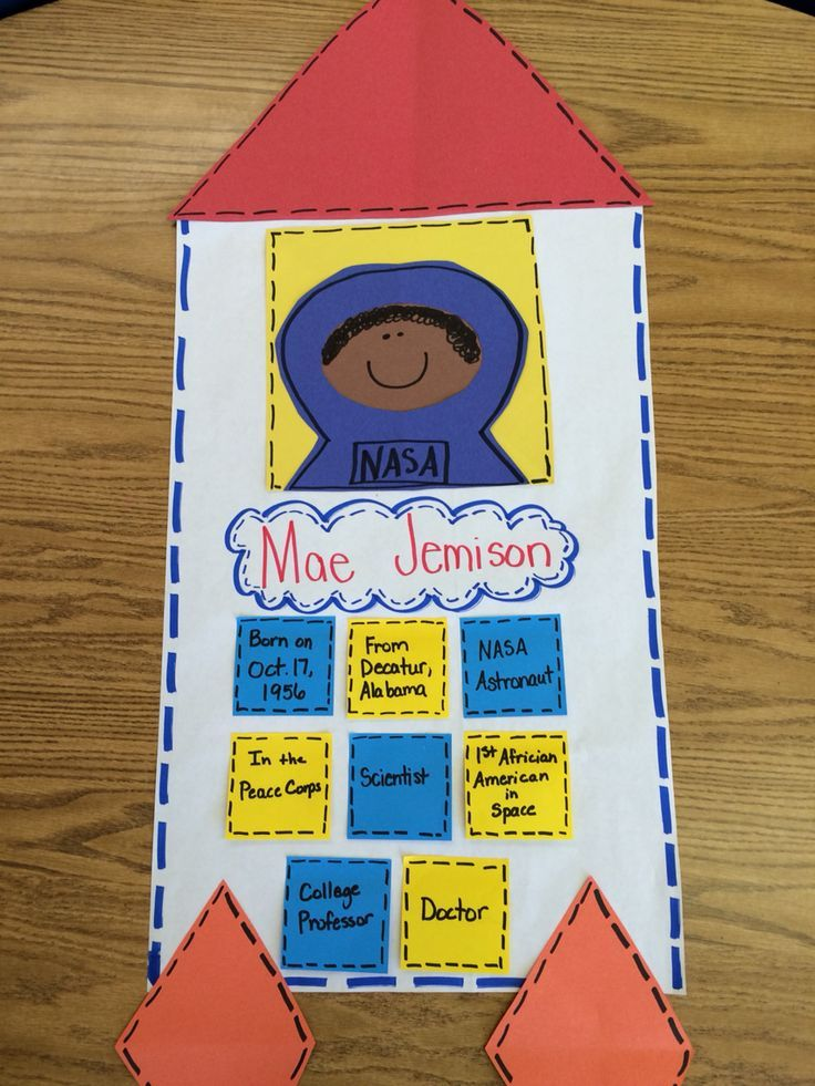 Black history month.  Made this anchor chart about Mae Jemison, first black female astronaut.