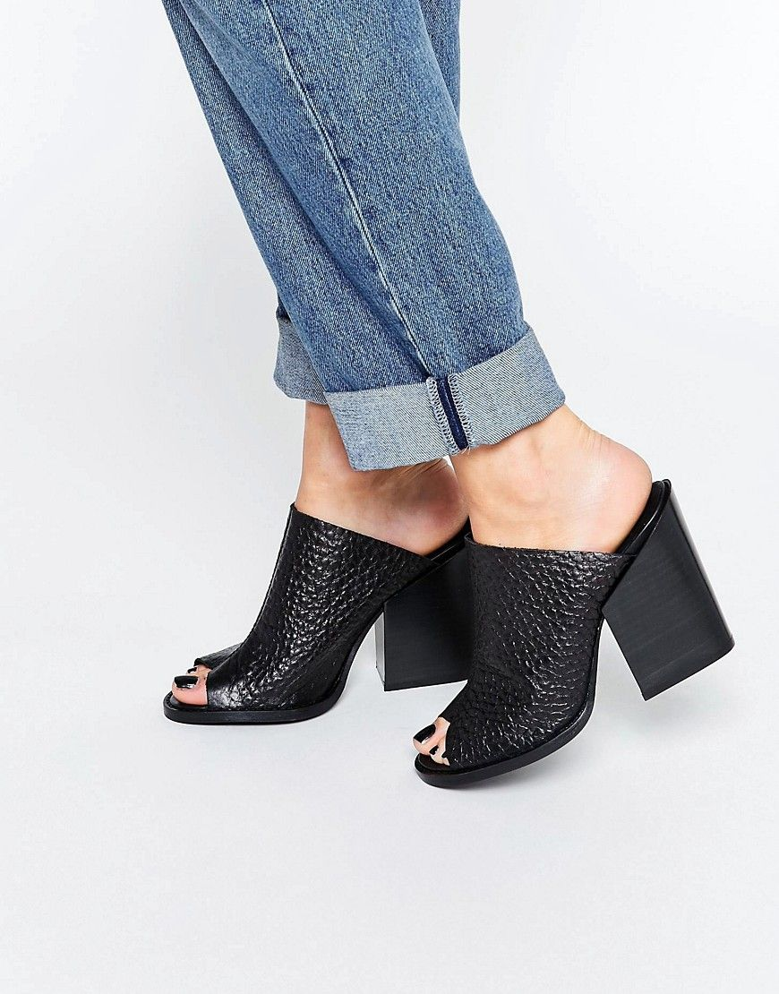 Image 1 of Selected Femme Sam Leather High Heel Mule Sandals