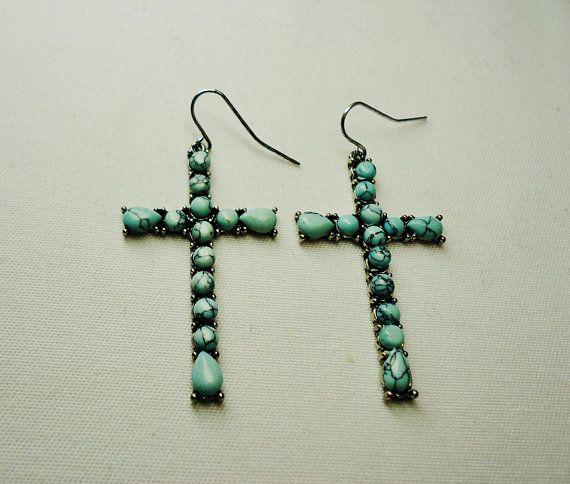 Turquoise earrings for women Blue Turquoise Cross Earrings