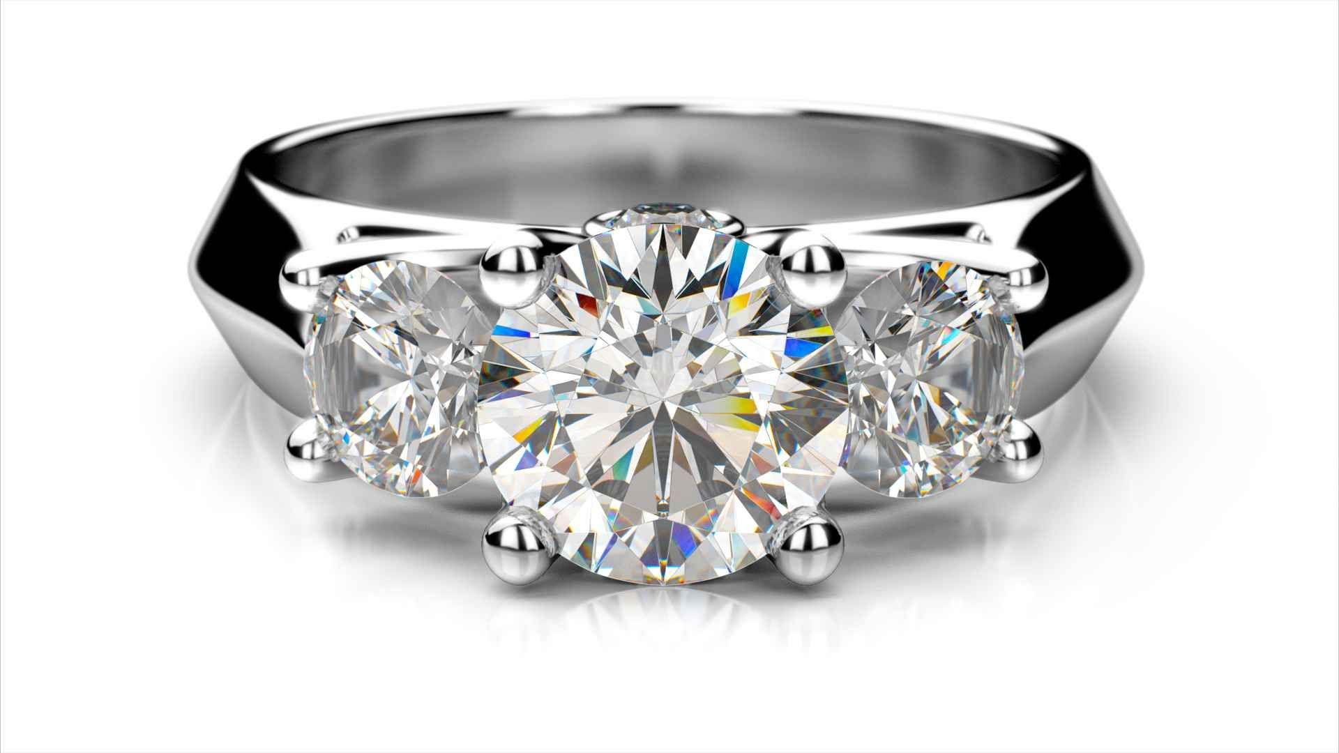 6a5f902e1 Zlatý zásnubný prsteň VERA biele zlato 14 karátové diamant okrúhly tri  diamanty