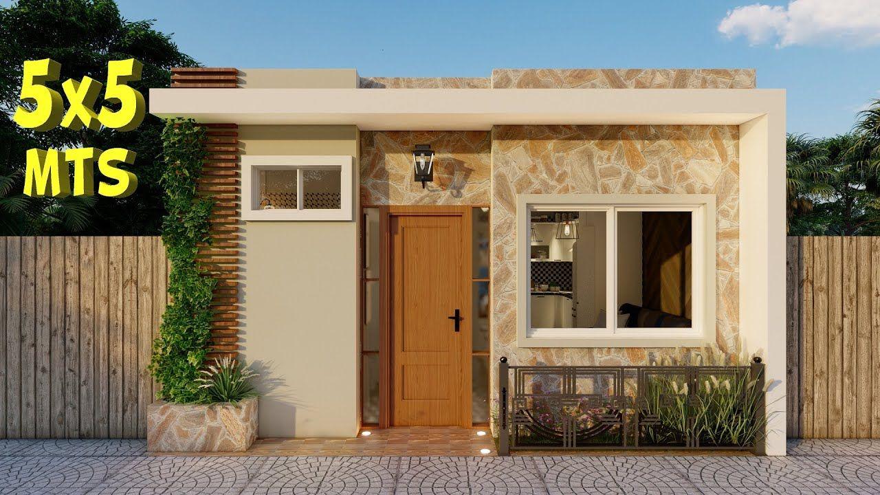 Plano De Casa 5x5 Casa Economica Youtube En 2020 Planos De Casas Diseno Casas Pequenas Fachadas De Casas Chicas