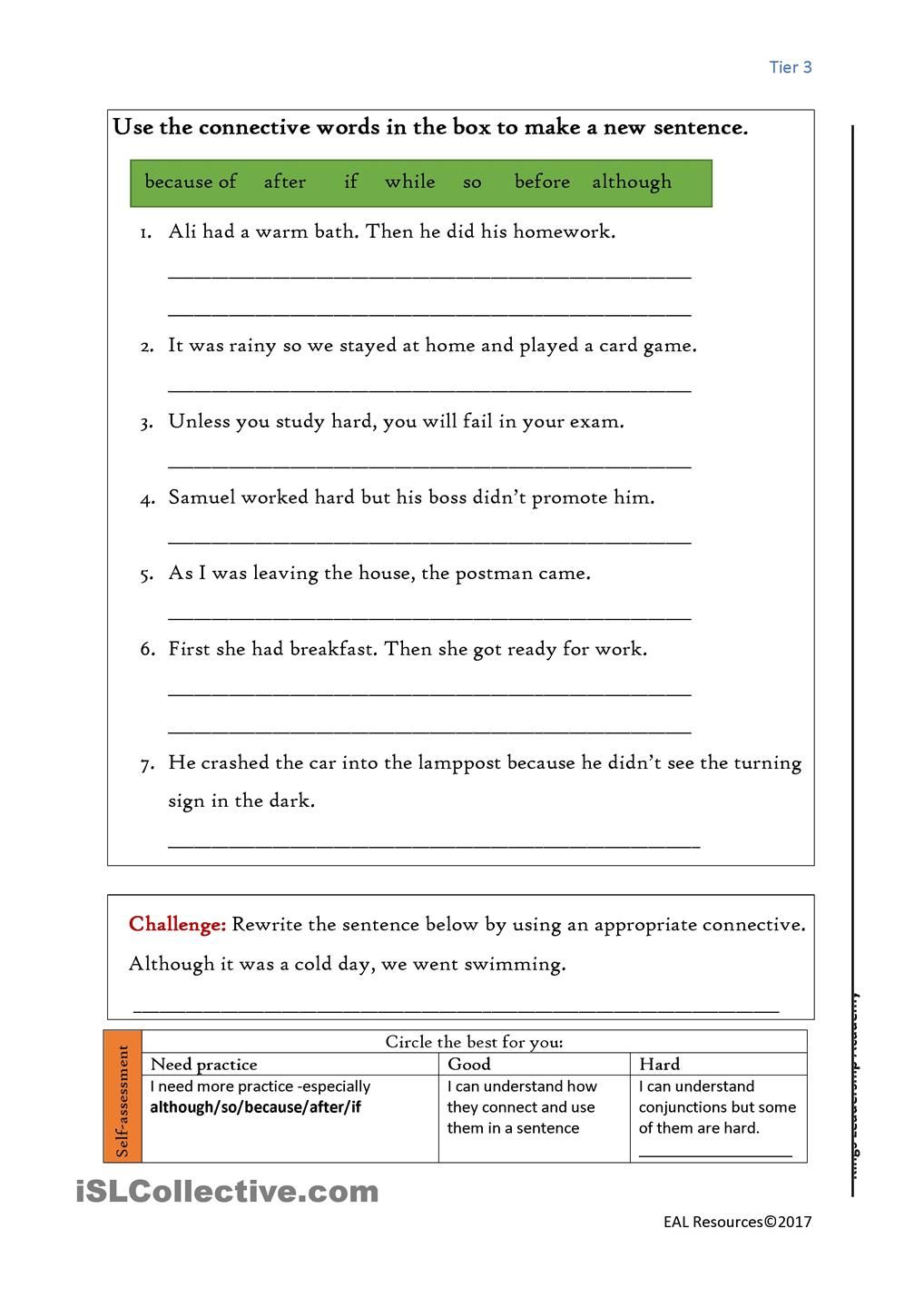 conjunctions | Conjunctions | Grammar worksheets, Linking ...